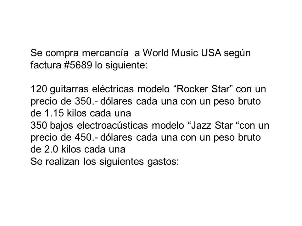 Se compra mercancía a World Music USA según factura #5689 lo siguiente: