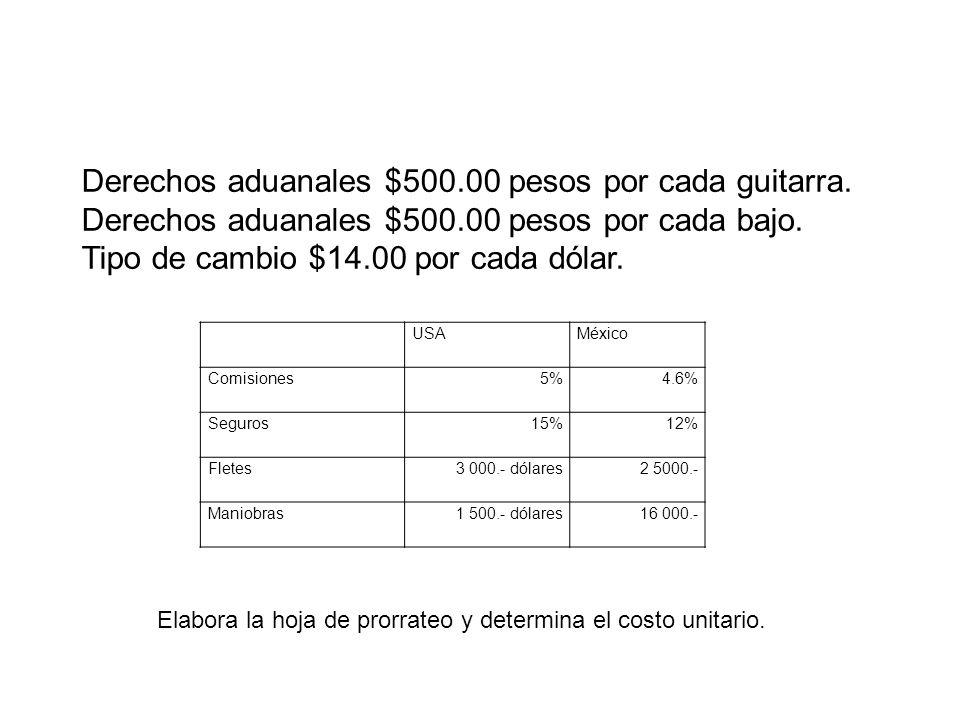 Derechos aduanales $500.00 pesos por cada guitarra.