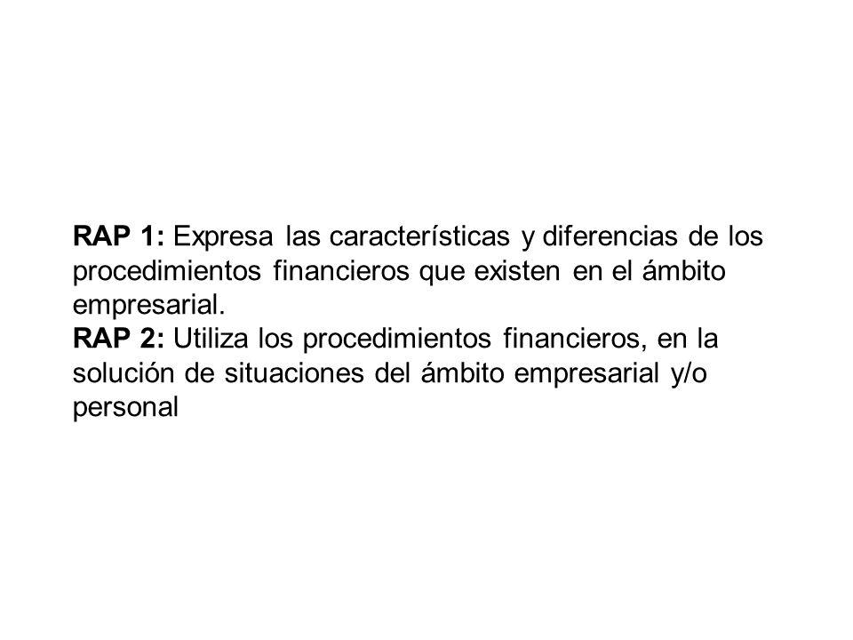 RAP 1: Expresa las características y diferencias de los procedimientos financieros que existen en el ámbito empresarial.