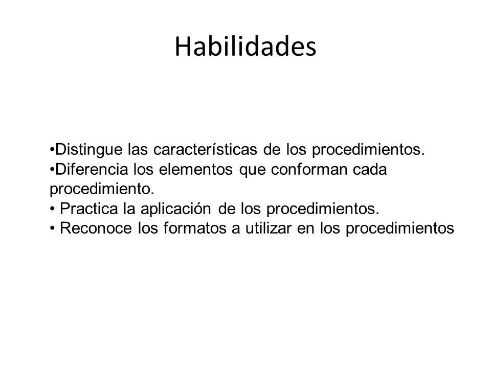 Habilidades Distingue las características de los procedimientos.