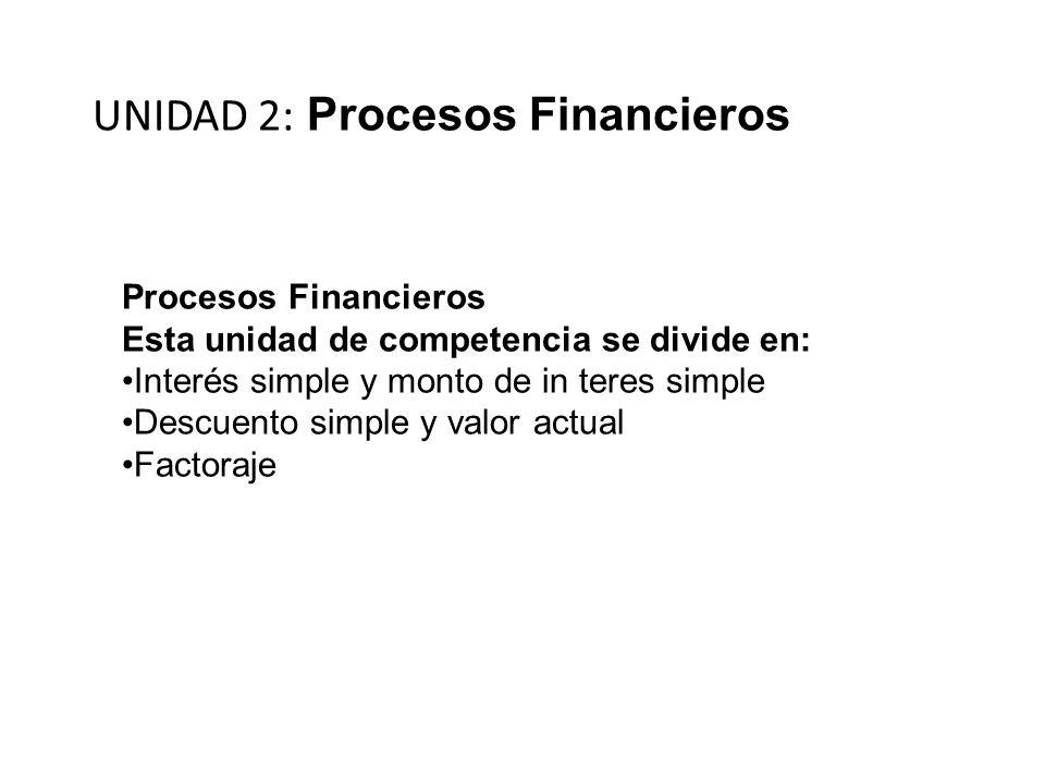 UNIDAD 2: Procesos Financieros