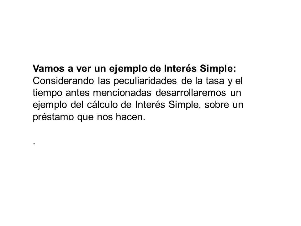 Vamos a ver un ejemplo de Interés Simple: