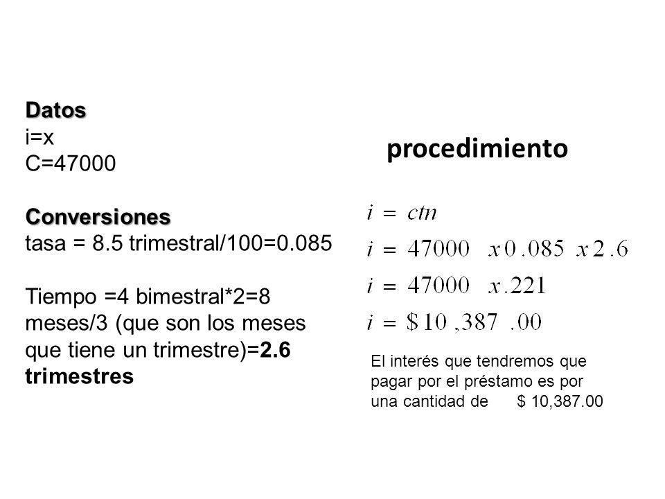 procedimiento Datos i=x C=47000 Conversiones