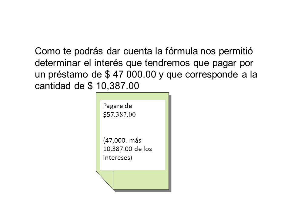 Como te podrás dar cuenta la fórmula nos permitió determinar el interés que tendremos que pagar por un préstamo de $ 47 000.00 y que corresponde a la cantidad de $ 10,387.00