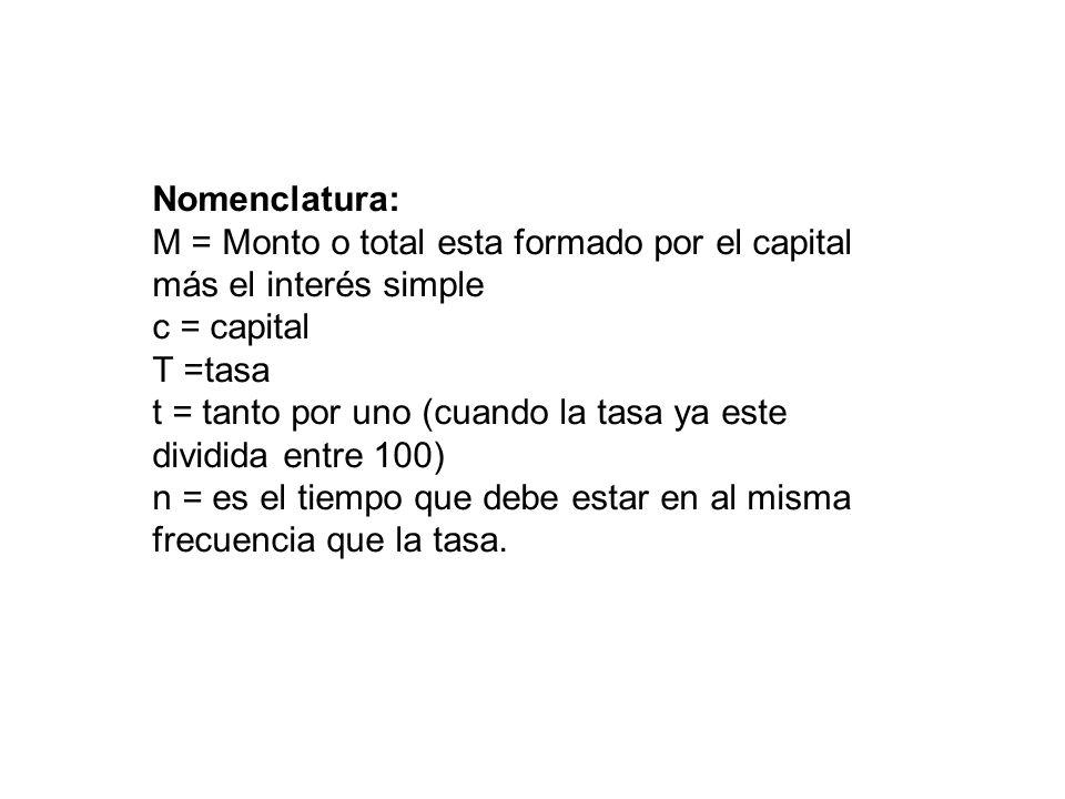 Nomenclatura: M = Monto o total esta formado por el capital más el interés simple. c = capital. T =tasa.
