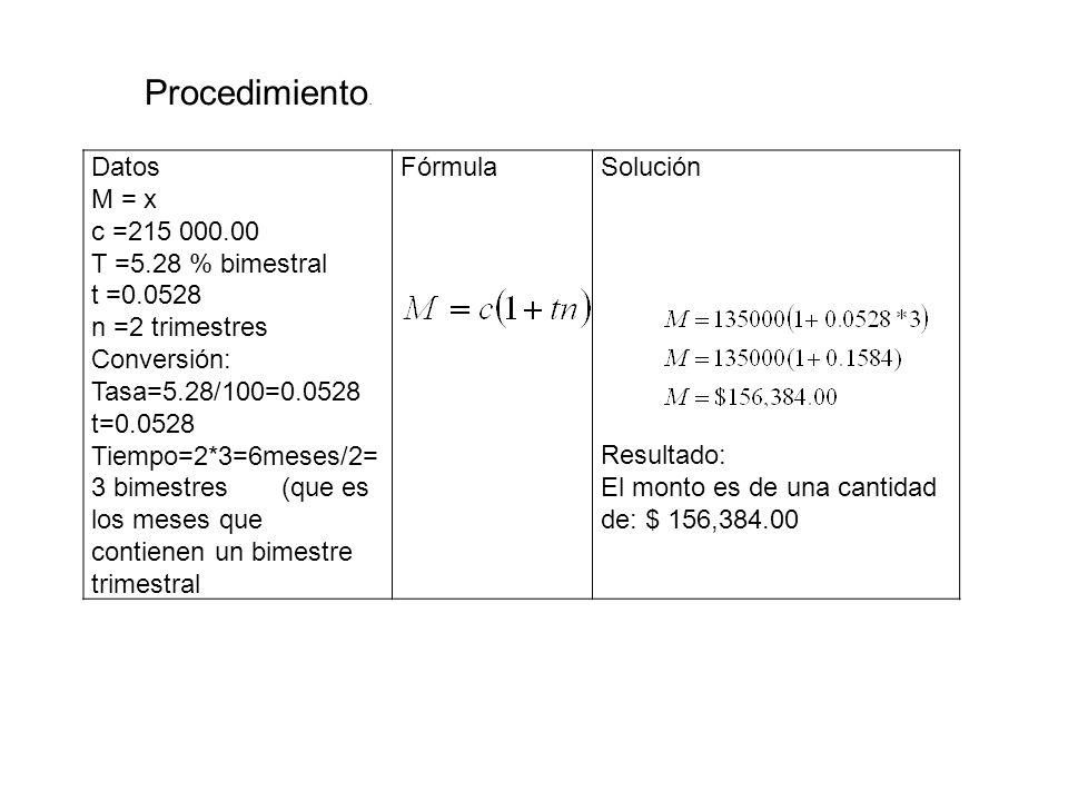 Procedimiento. Datos M = x c =215 000.00 T =5.28 % bimestral t =0.0528