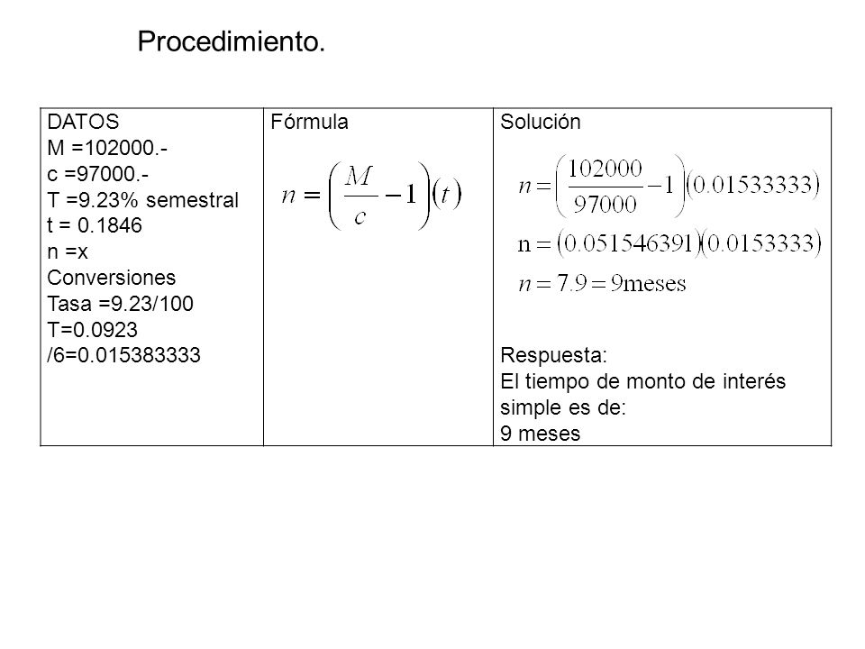 Procedimiento. DATOS M =102000.- c =97000.- T =9.23% semestral
