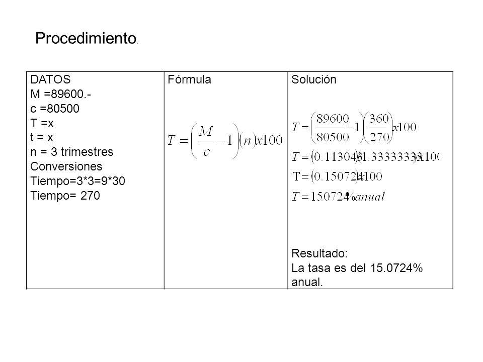 Procedimiento. DATOS M =89600.- c =80500 T =x t = x n = 3 trimestres