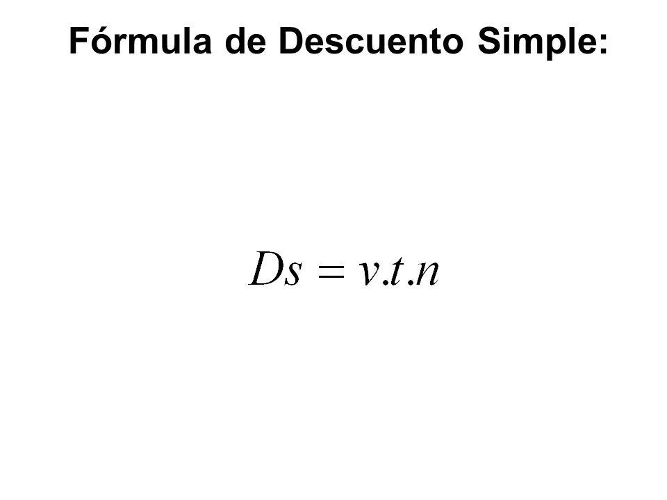 Fórmula de Descuento Simple: