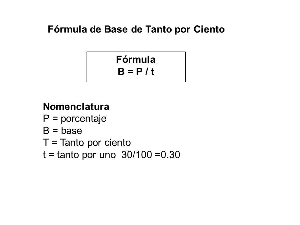 Fórmula de Base de Tanto por Ciento