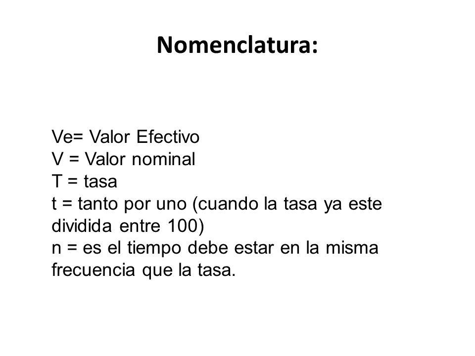 Nomenclatura: Ve= Valor Efectivo V = Valor nominal T = tasa