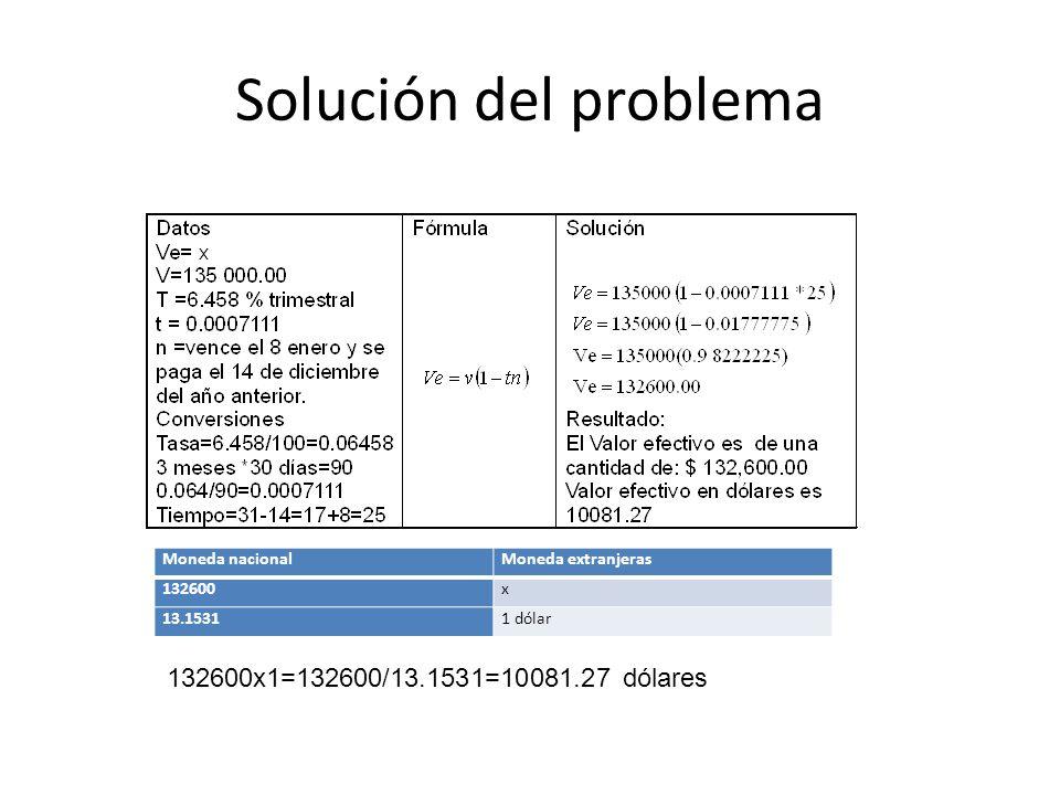 Solución del problema 132600x1=132600/13.1531=10081.27 dólares