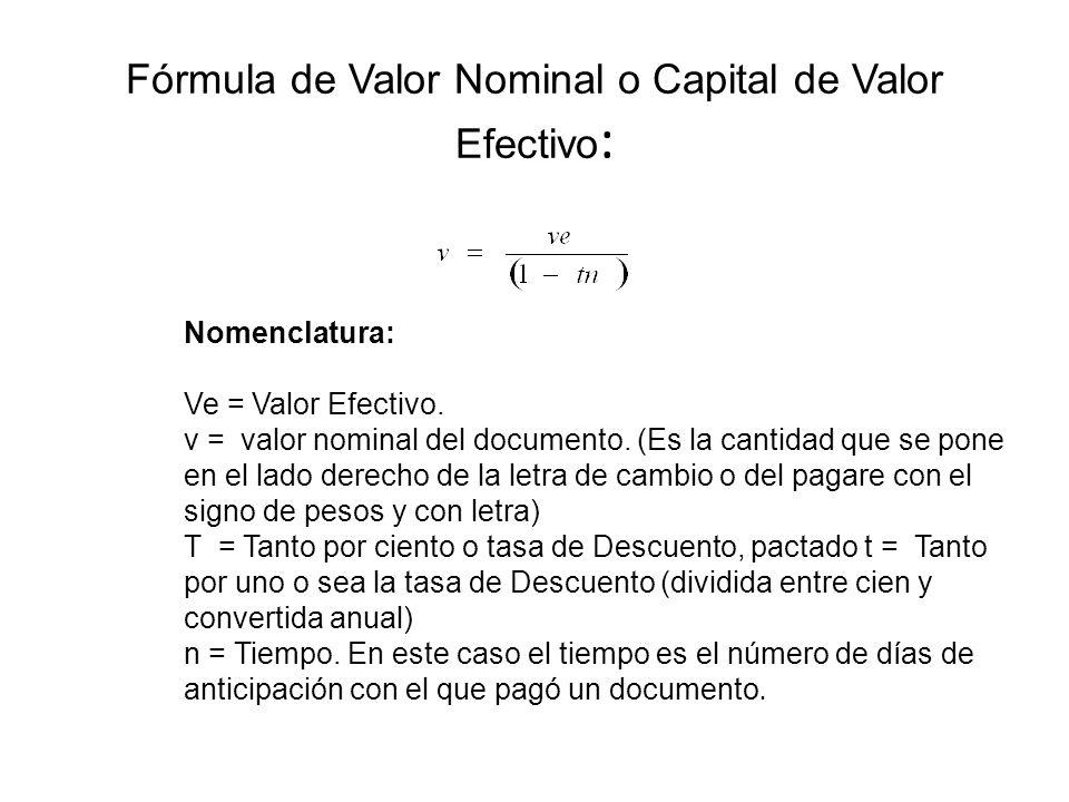 Fórmula de Valor Nominal o Capital de Valor Efectivo: