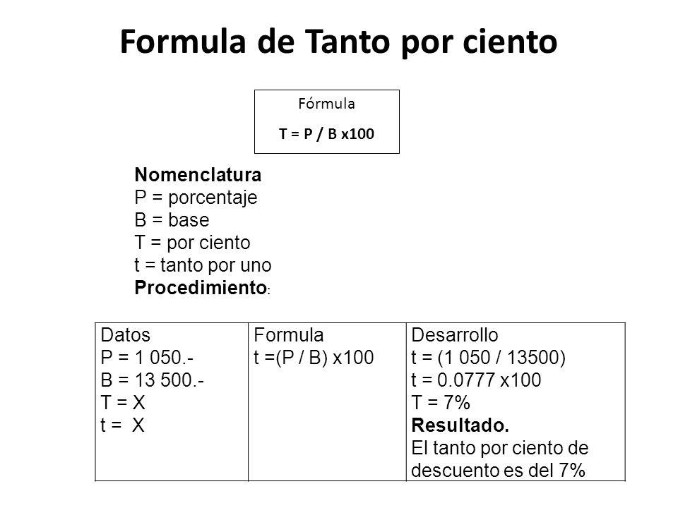Formula de Tanto por ciento