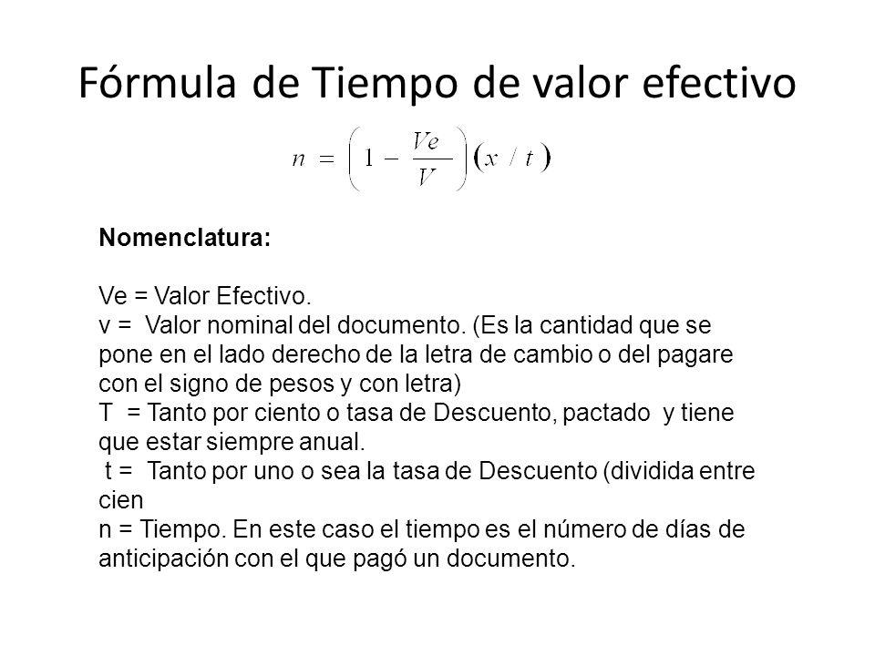 Fórmula de Tiempo de valor efectivo