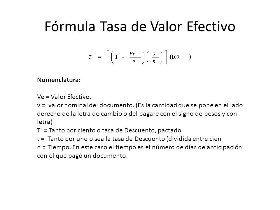 Fórmula Tasa de Valor Efectivo