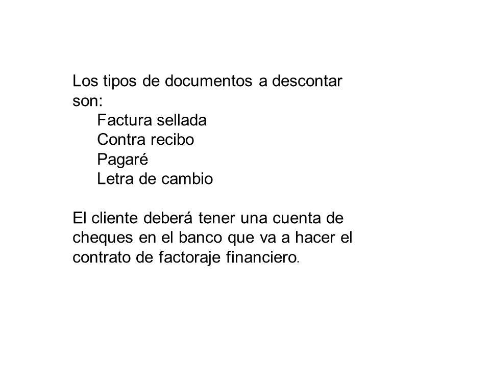 Los tipos de documentos a descontar son:
