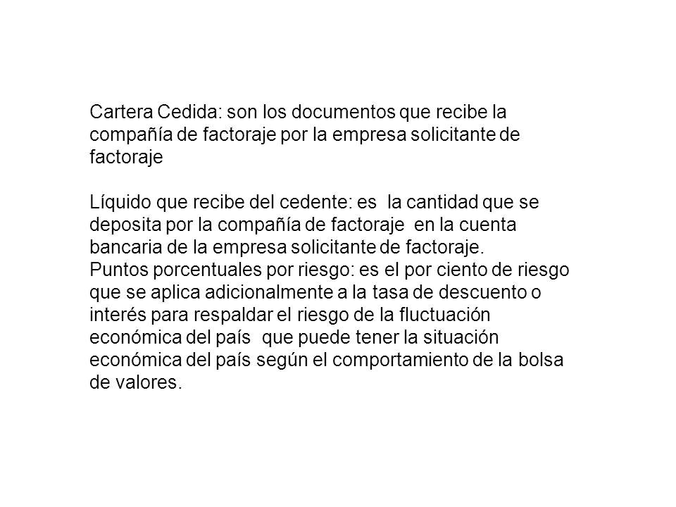 Cartera Cedida: son los documentos que recibe la compañía de factoraje por la empresa solicitante de factoraje