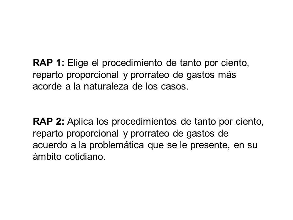 RAP 1: Elige el procedimiento de tanto por ciento, reparto proporcional y prorrateo de gastos más acorde a la naturaleza de los casos.