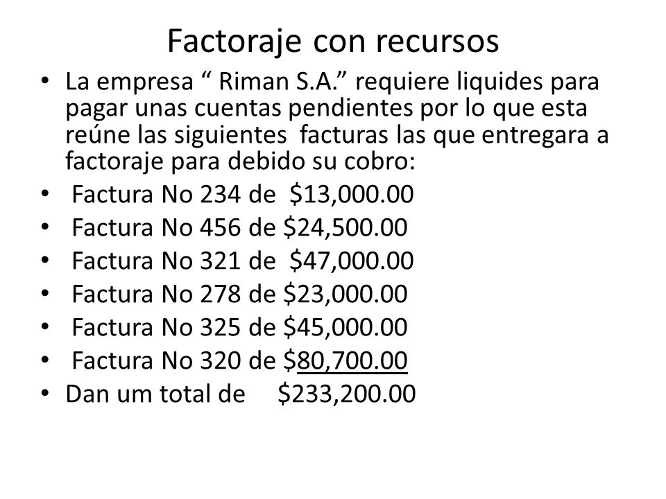 Factoraje con recursos