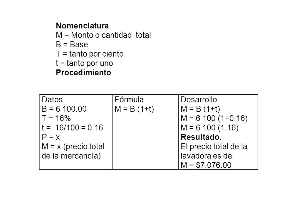 Nomenclatura M = Monto o cantidad total. B = Base. T = tanto por ciento. t = tanto por uno. Procedimiento.