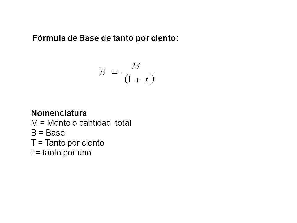 M = Monto o cantidad total B = Base T = Tanto por ciento