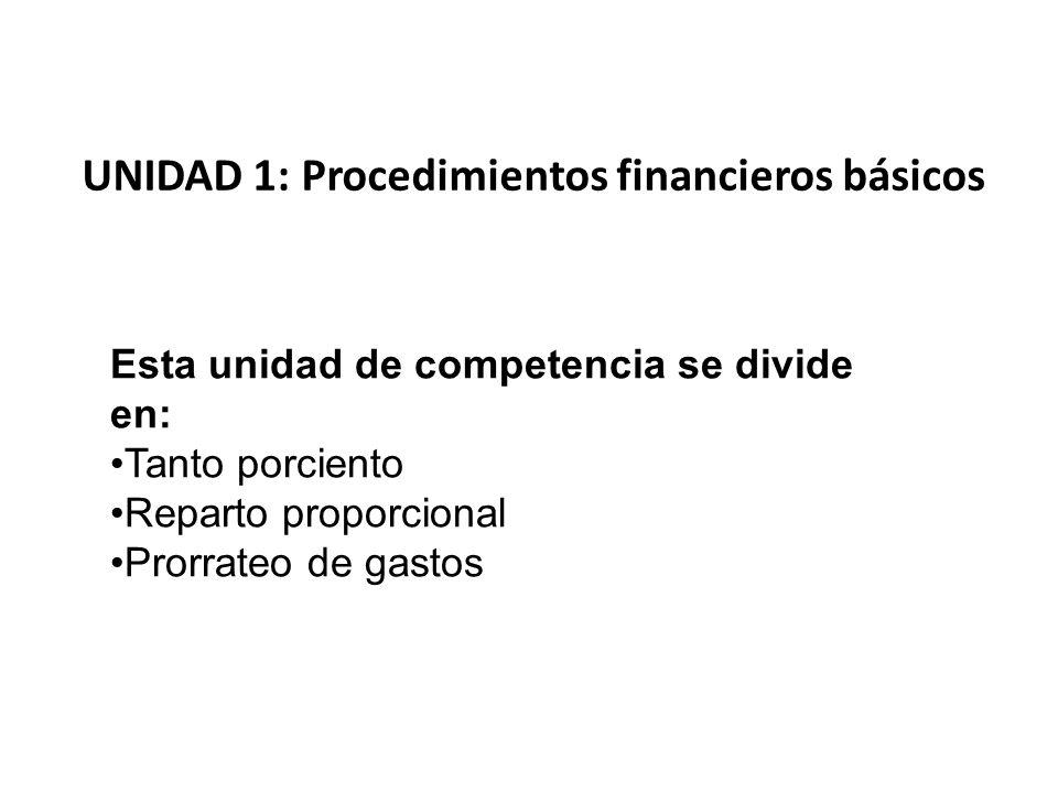 UNIDAD 1: Procedimientos financieros básicos