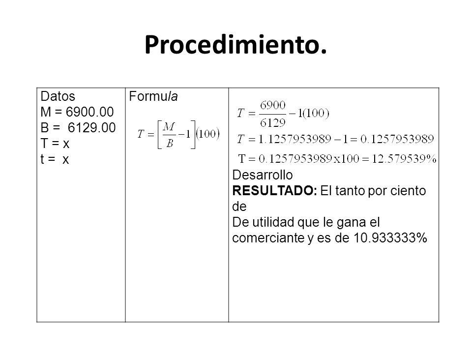 Procedimiento. Datos M = 6900.00 B = 6129.00 T = x t = x Formula