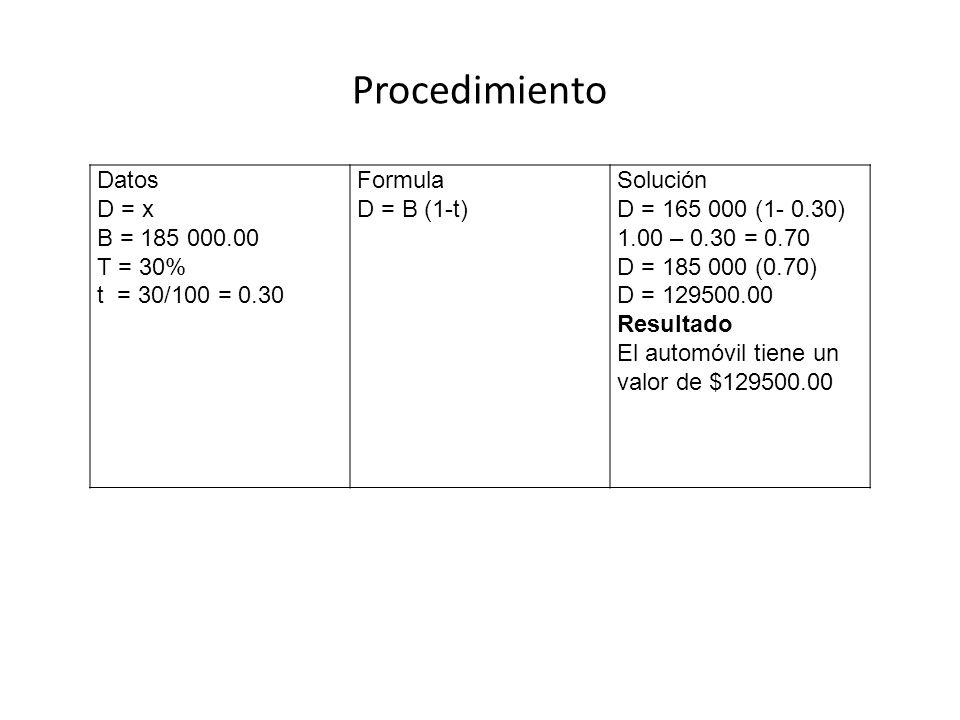 Procedimiento Datos D = x B = 185 000.00 T = 30% t = 30/100 = 0.30