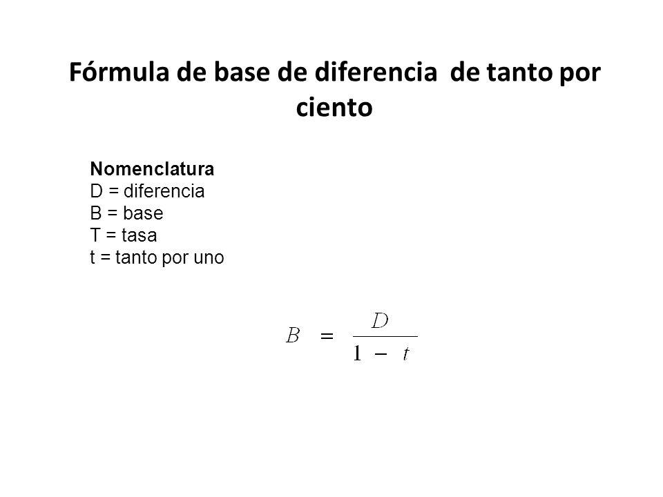 Fórmula de base de diferencia de tanto por ciento