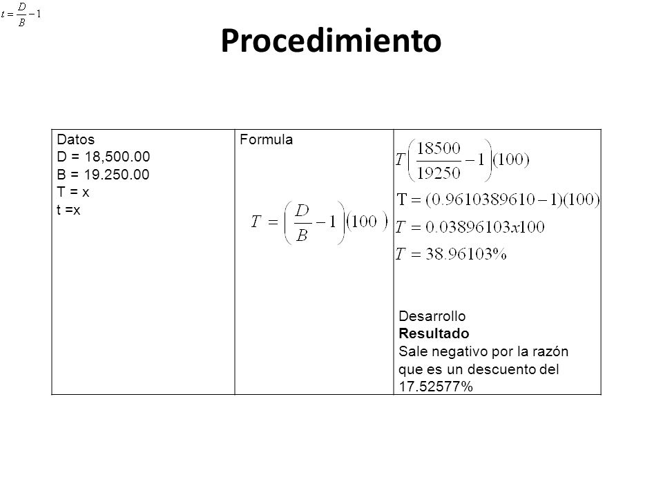 Procedimiento Datos D = 18,500.00 B = 19.250.00 T = x t =x Formula