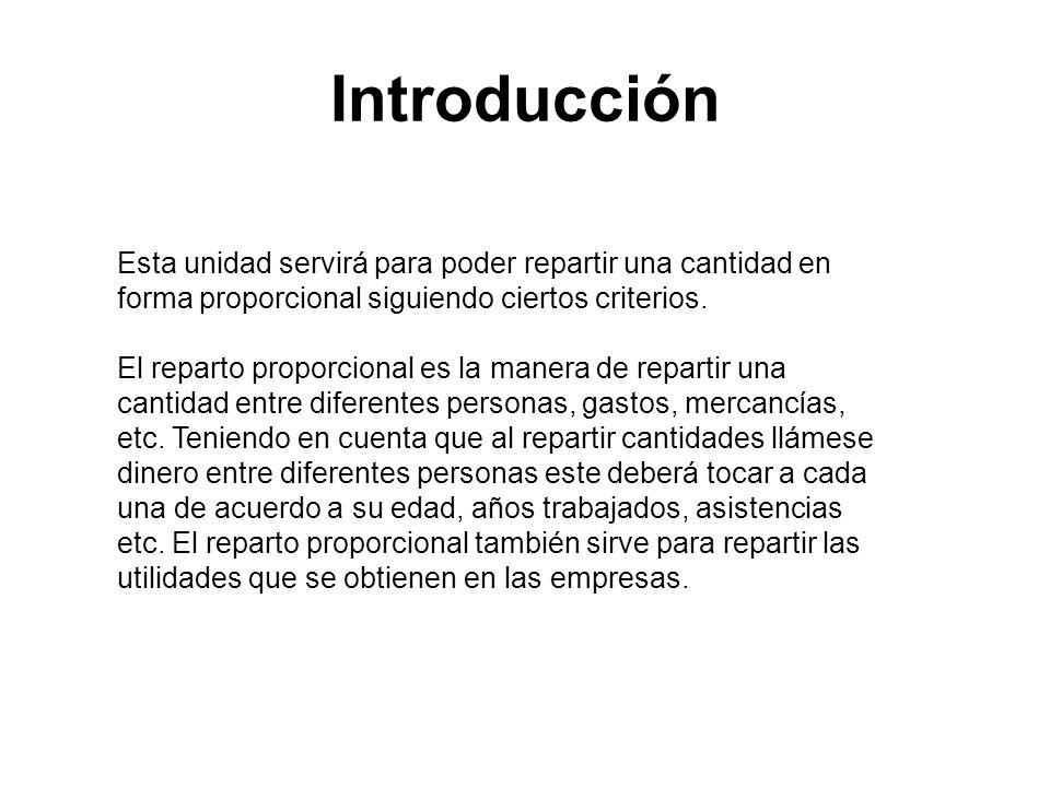 Introducción Esta unidad servirá para poder repartir una cantidad en forma proporcional siguiendo ciertos criterios.