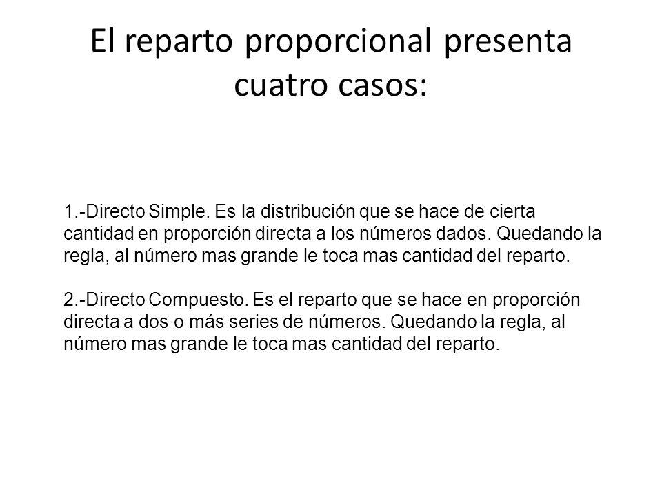 El reparto proporcional presenta cuatro casos: