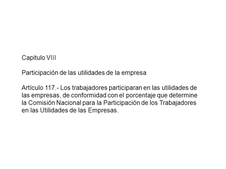 Capitulo VIII Participación de las utilidades de la empresa.