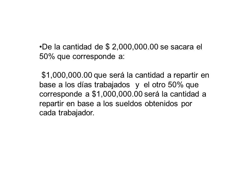 De la cantidad de $ 2,000,000.00 se sacara el 50% que corresponde a: