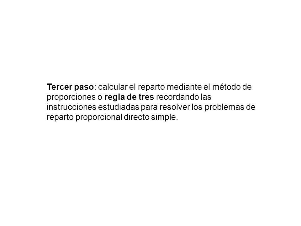 Tercer paso: calcular el reparto mediante el método de proporciones o regla de tres recordando las instrucciones estudiadas para resolver los problemas de reparto proporcional directo simple.