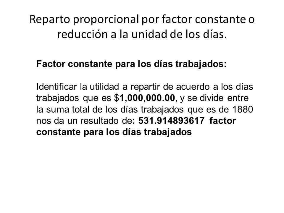 Reparto proporcional por factor constante o reducción a la unidad de los días.