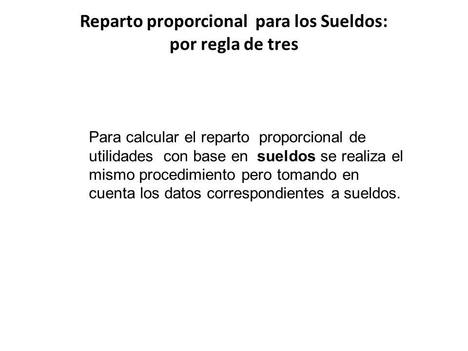 Reparto proporcional para los Sueldos: por regla de tres