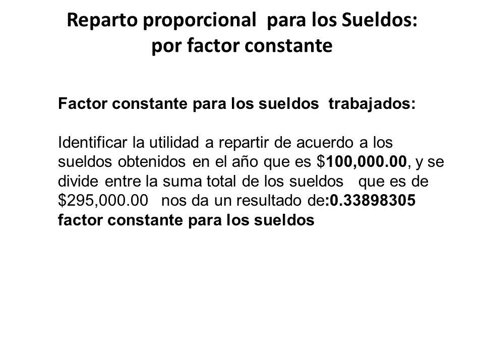 Reparto proporcional para los Sueldos: por factor constante