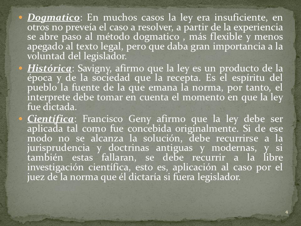 Dogmatico: En muchos casos la ley era insuficiente, en otros no preveía el caso a resolver, a partir de la experiencia se abre paso al método dogmatico , más flexible y menos apegado al texto legal, pero que daba gran importancia a la voluntad del legislador.