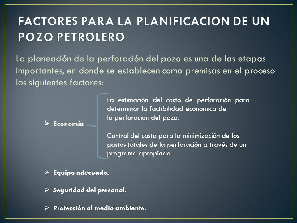 FACTORES PARA LA PLANIFICACION DE UN POZO PETROLERO