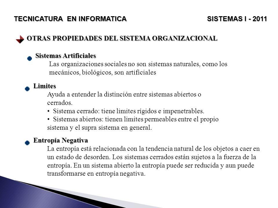 OTRAS PROPIEDADES DEL SISTEMA ORGANIZACIONAL