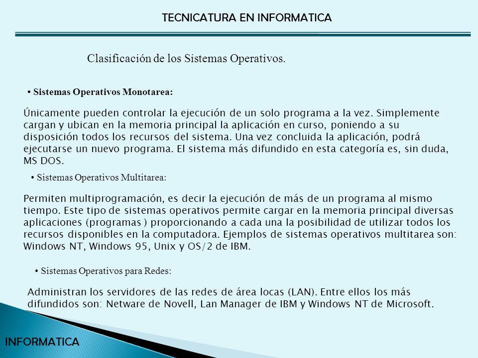Clasificación de los Sistemas Operativos.