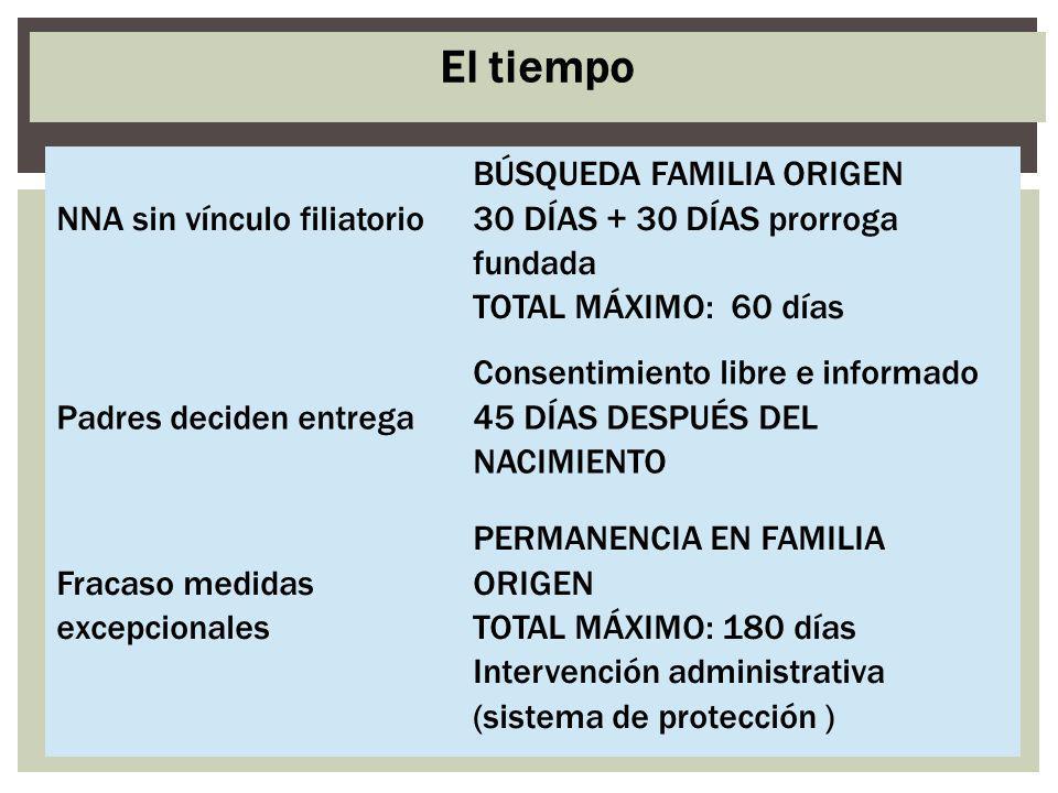 El tiempo NNA sin vínculo filiatorio BÚSQUEDA FAMILIA ORIGEN