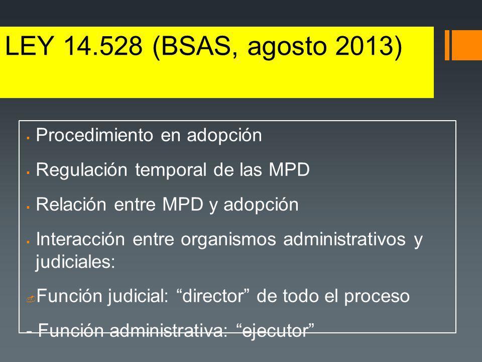LEY 14.528 (BSAS, agosto 2013) Procedimiento en adopción