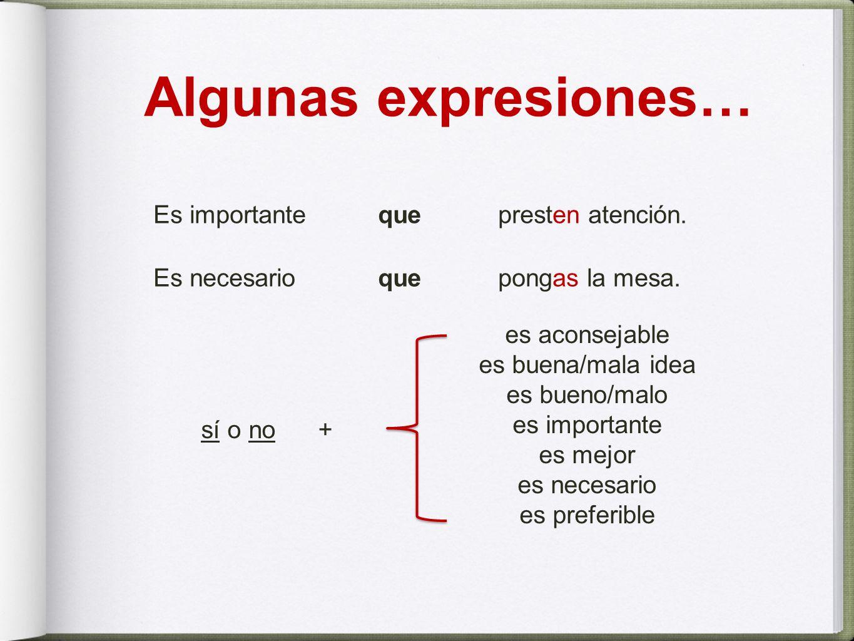 Algunas expresiones…Es importante que presten atención. Es necesario que pongas la mesa. es aconsejable.