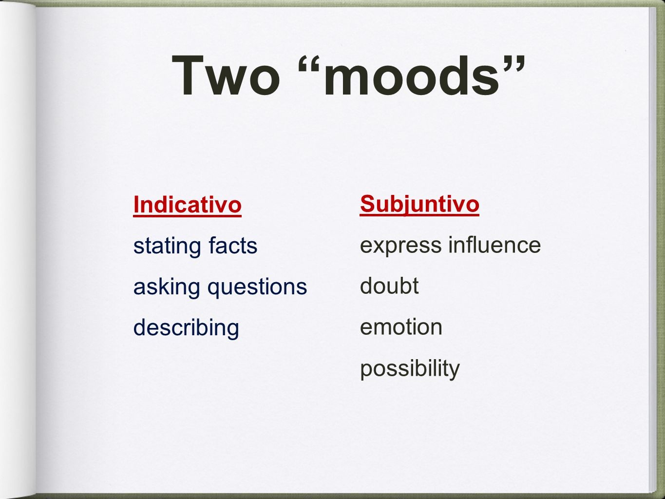 Two moods Indicativo stating facts Subjuntivo asking questions