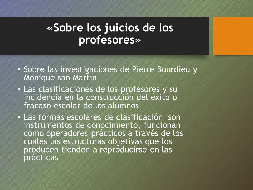 «Sobre los juicios de los profesores»