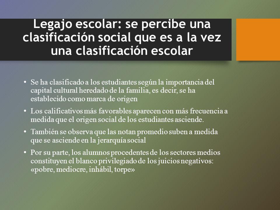 Legajo escolar: se percibe una clasificación social que es a la vez una clasificación escolar