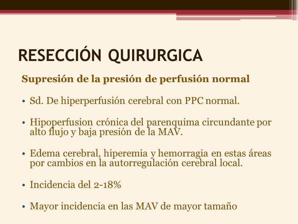 RESECCIÓN QUIRURGICA Supresión de la presión de perfusión normal